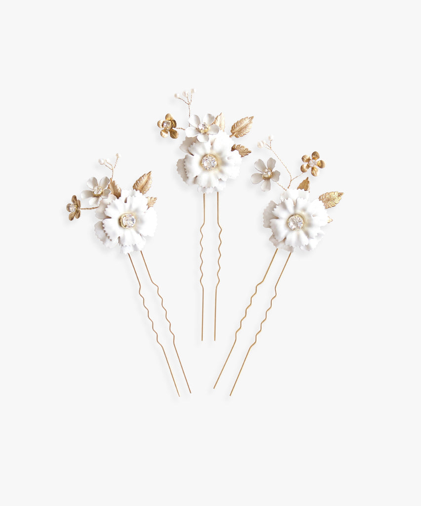 Marie Aude Flower Hairpins - As One Weds