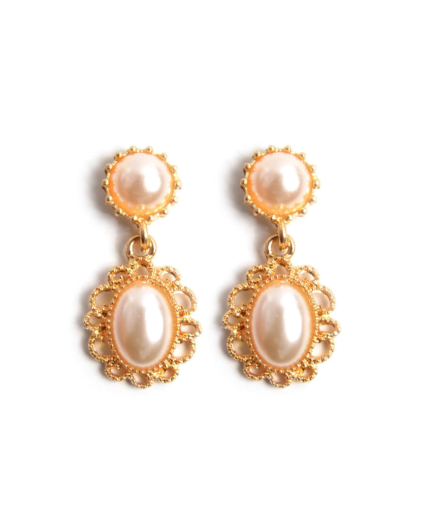 Vintage Oval Pearl Earrings