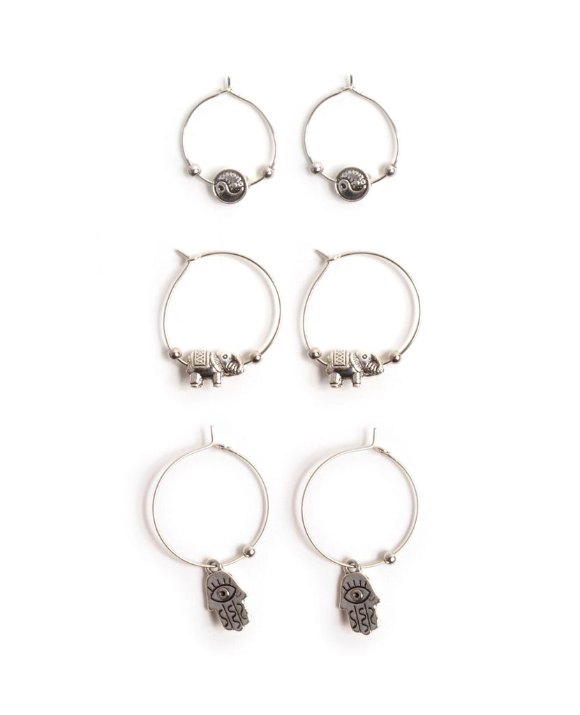 Amulets Hoop Earrings Set