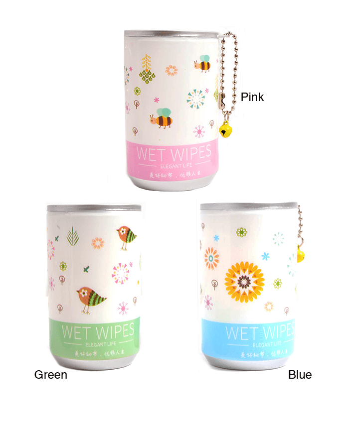 Soda Pop Can Wet Wipes- Birds And Flowers, ACCESSORIES