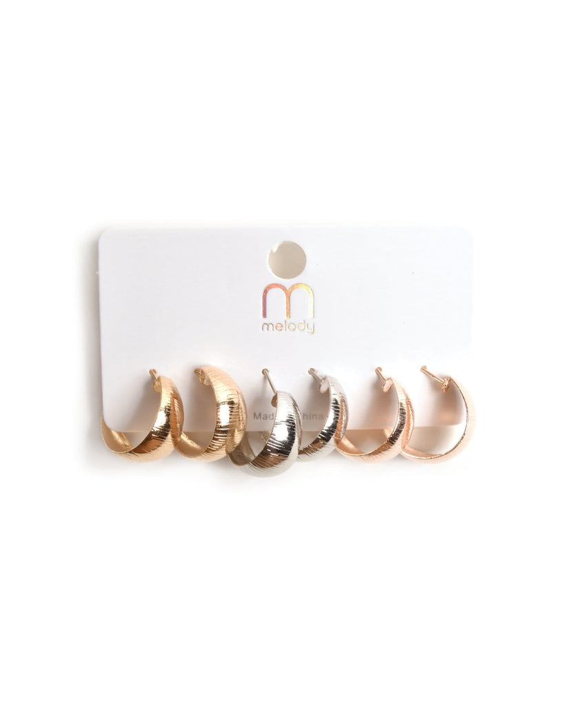 Small & Thick Hoop Earrings Set