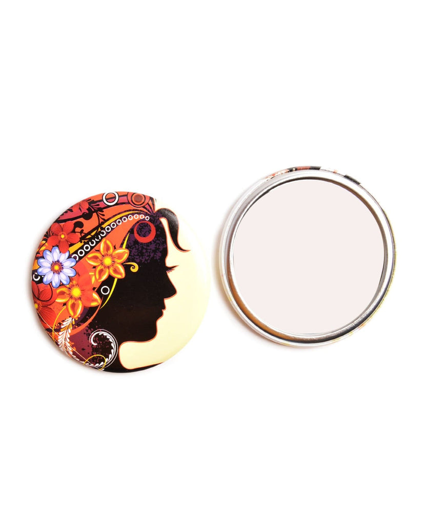 Floral Silhouette Tin Plate Pocket Mirror