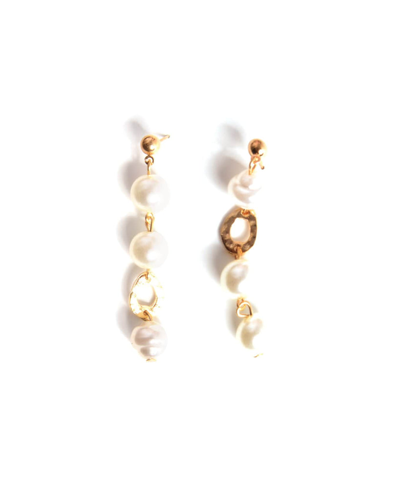 Metals And Pearls Earring