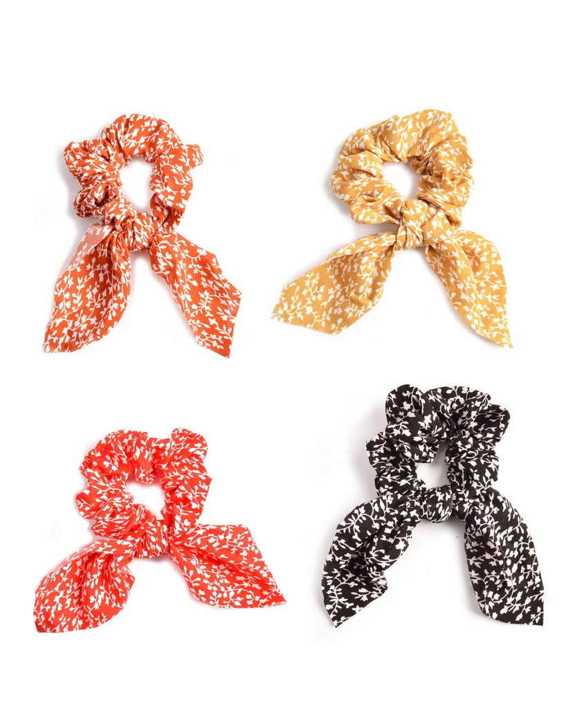Leaf Print Bow Scrunchies