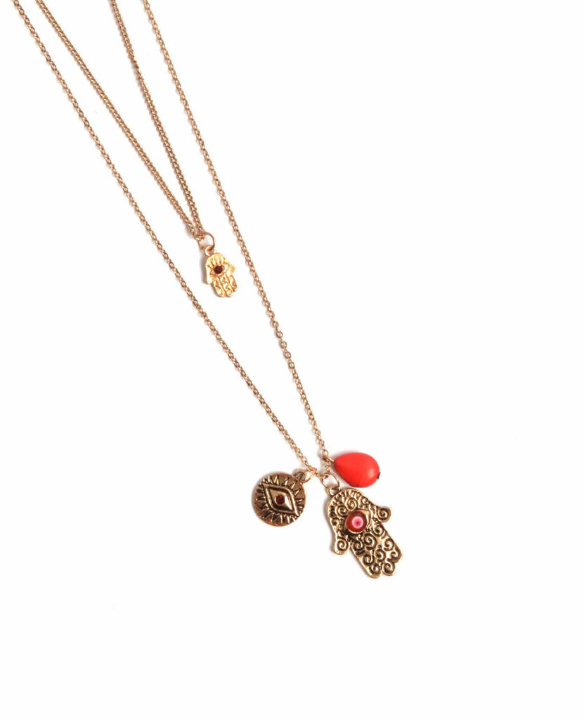 Hamsa Eye Of Fatima Charm Necklace