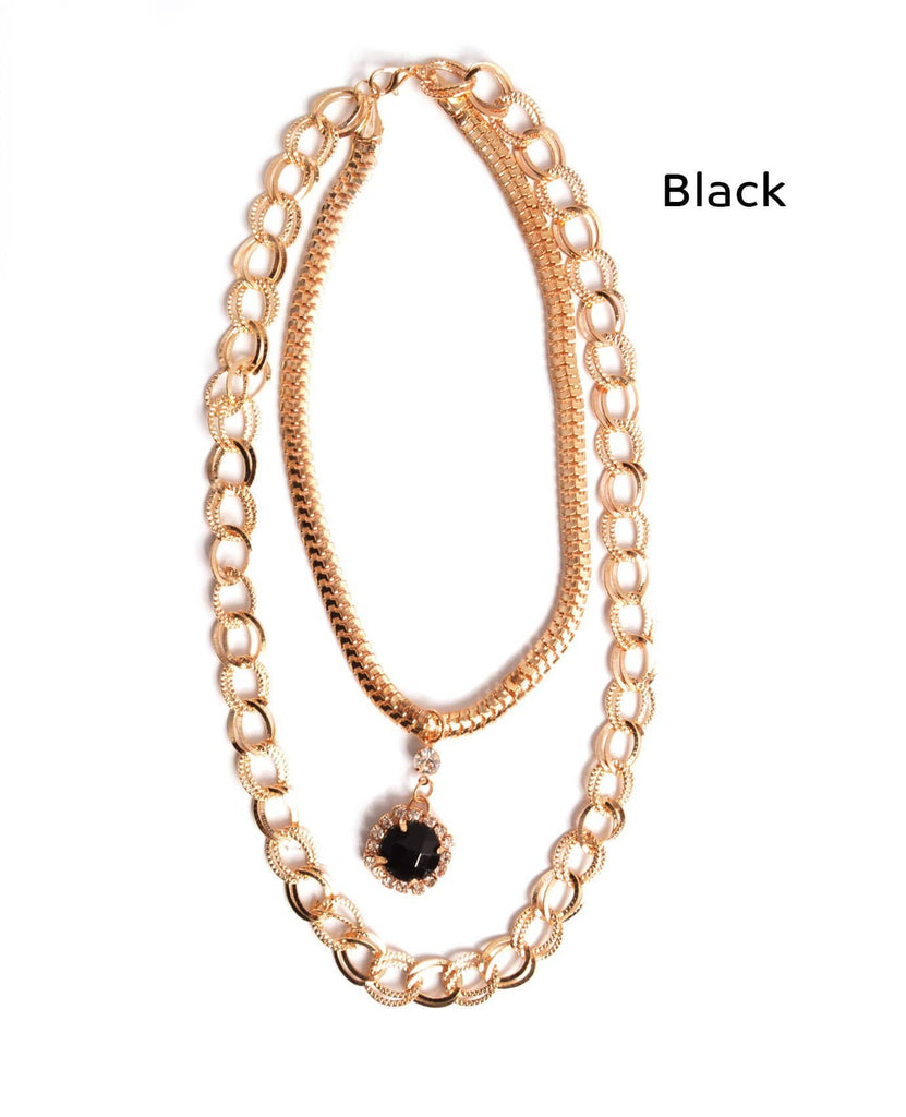 Gem Choker and Chain Necklace