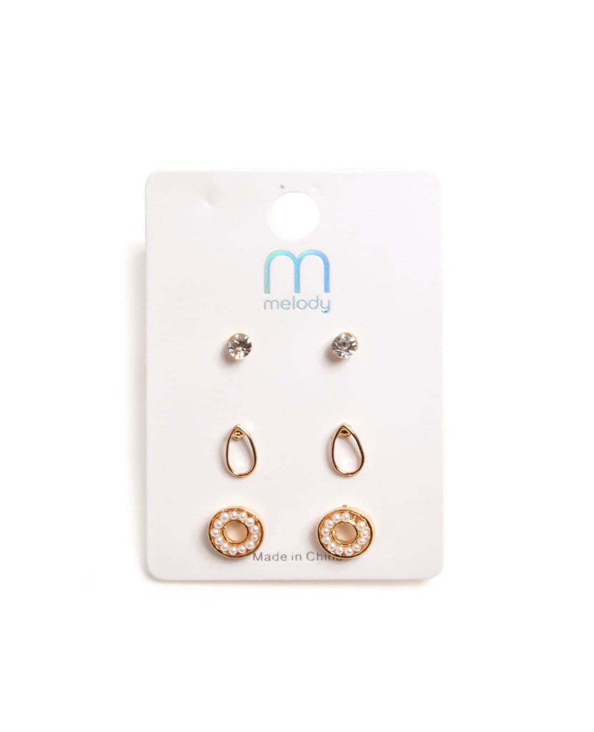 Mini Pearl Circle Earring Set