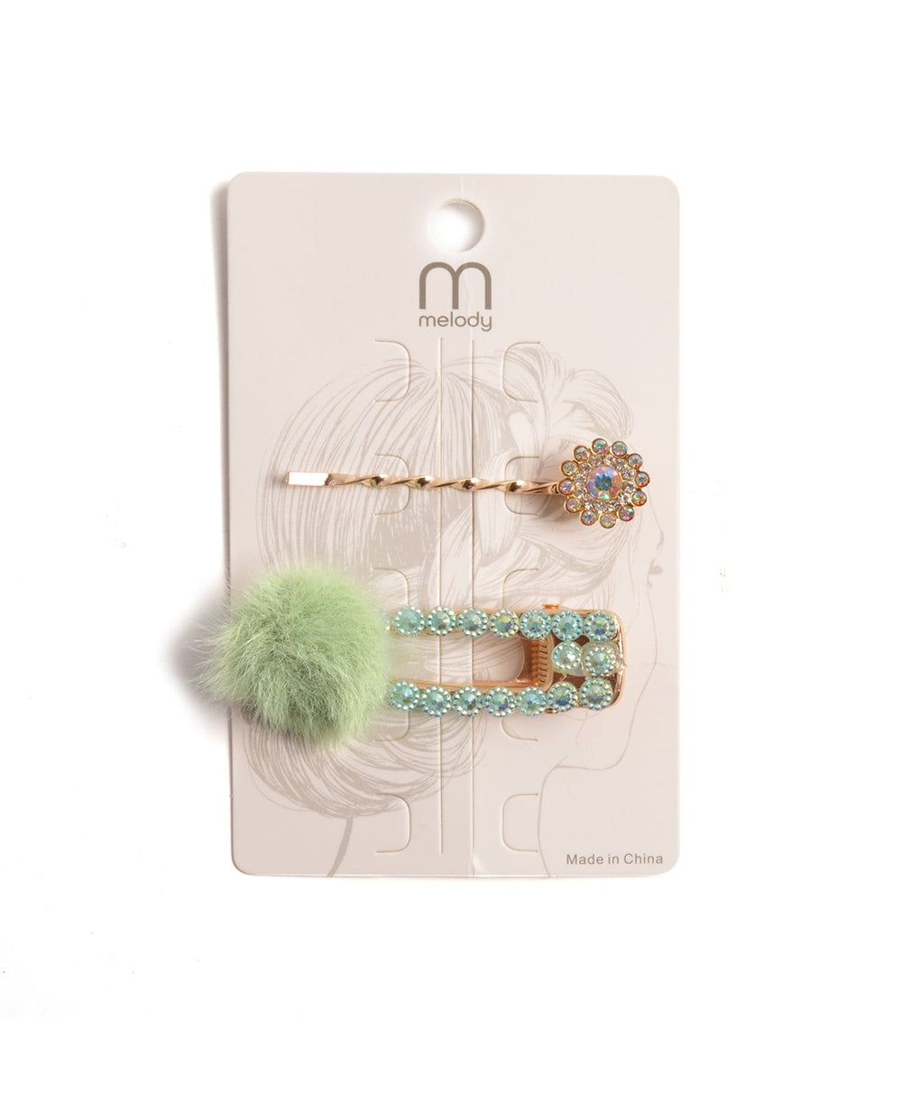 Mini Pom Pom Hair Clip Set