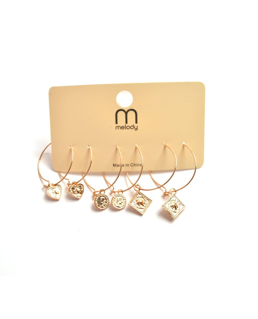 Coin Decor Hoop Earrings Set