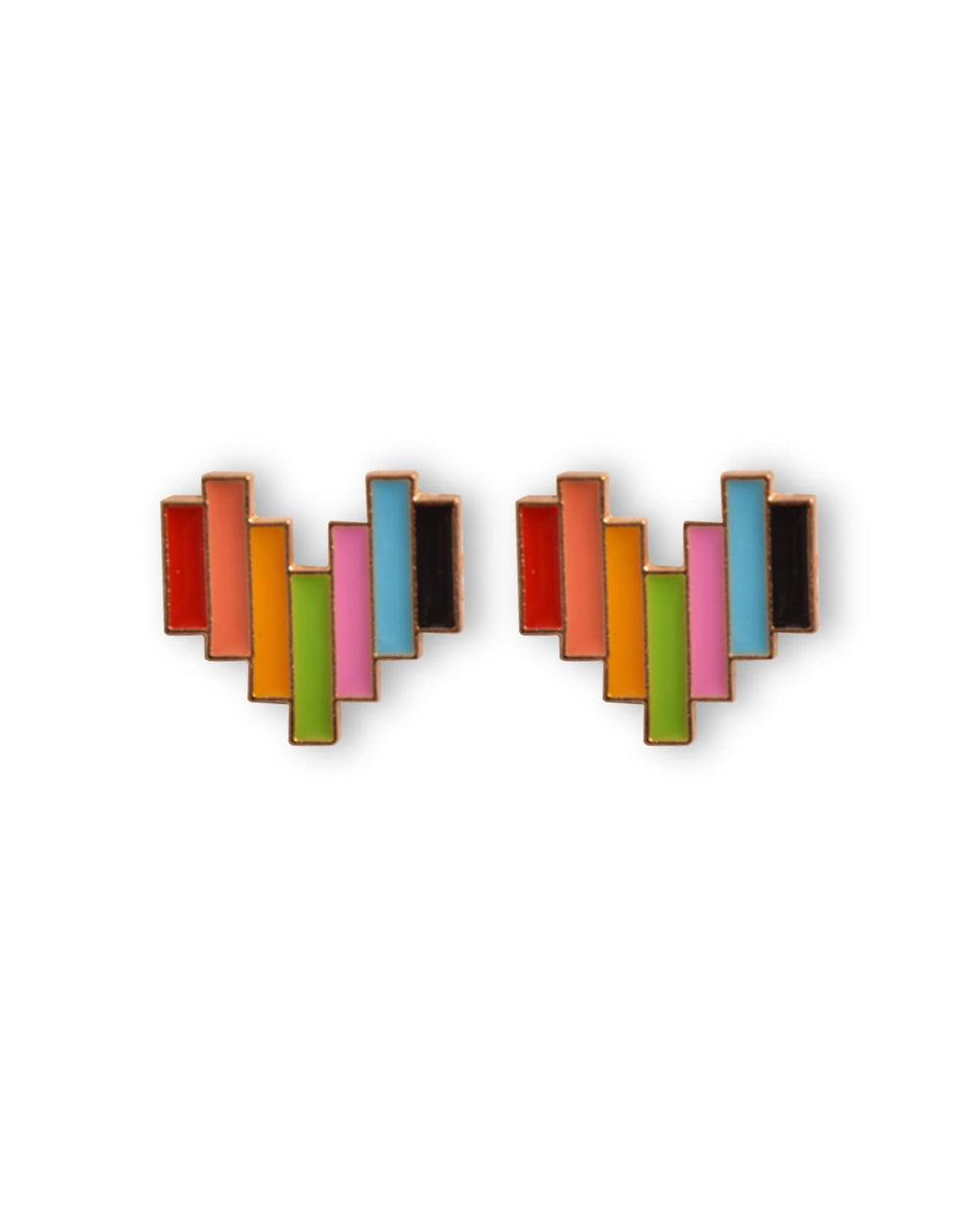 Rainbow Heart Earring