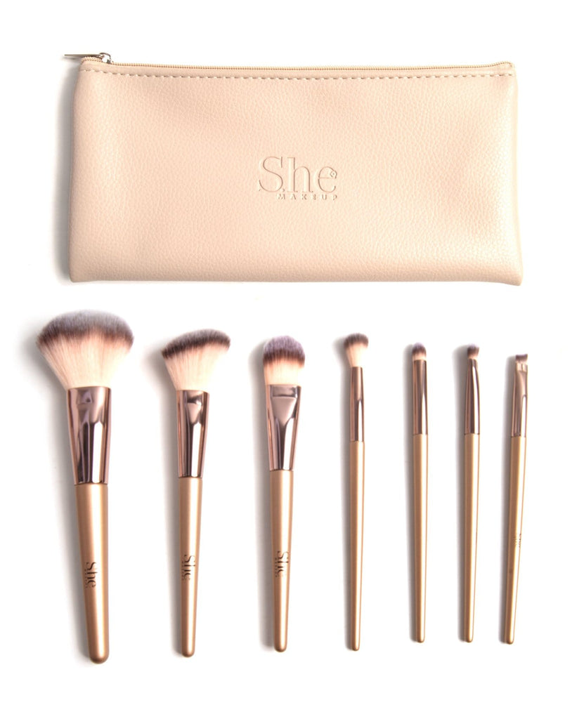 S.he Gold Makeup Brush Set