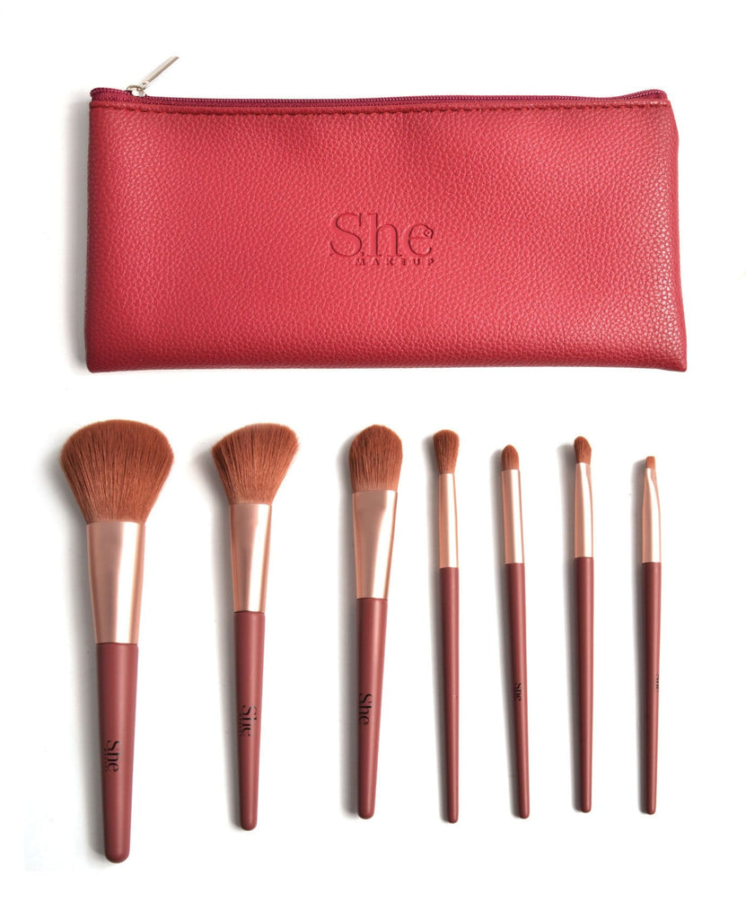 S.he Burgundy Makeup Brush Set