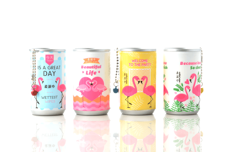 Soda Pop Can Travel Wet Wipes - Flamingos
