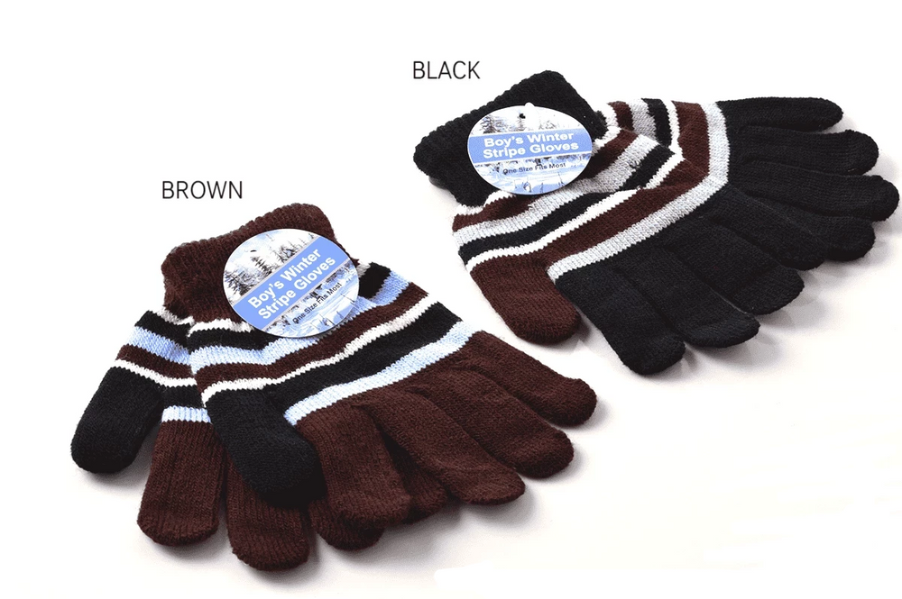 Kids Knitted Striped Gloves, WINTER