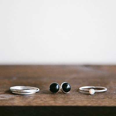 Mineral and Matter - Black Onyx Stud Earrings - Organ Mountain Outfitters