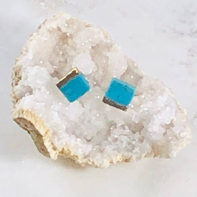 Sarah Belle - Turquoise with Gold Square Earrings - Organ Mountain Outfitters