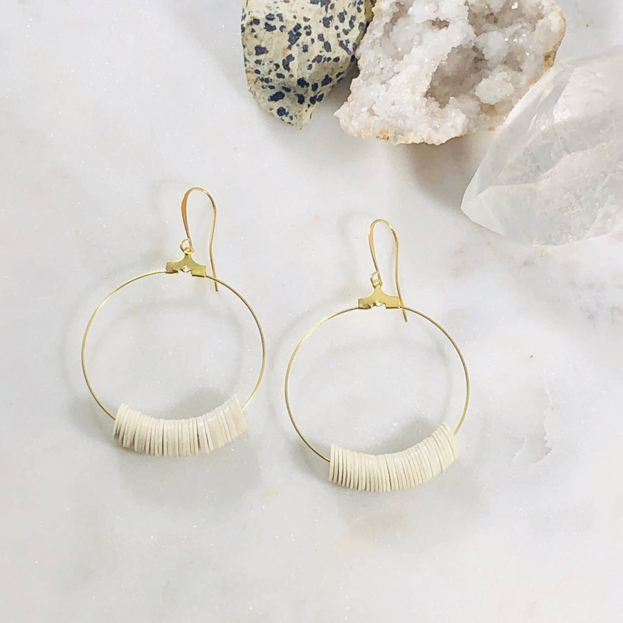 Sarah Belle - Dottie Cream Hoops - Organ Mountain Outfitters