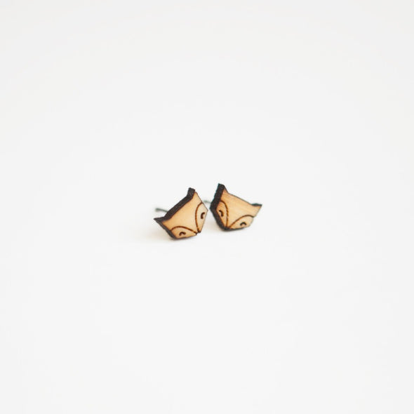 Tiny Lumber - Fox Wooden Earring Studs