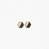 Tiny Lumber - Black Hexagon Wooden Earring Studs