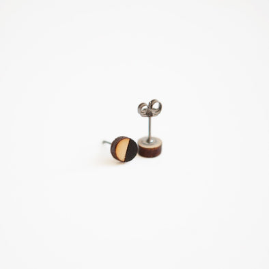 Tiny Lumber - Black Geometric Round Wooden Earrings