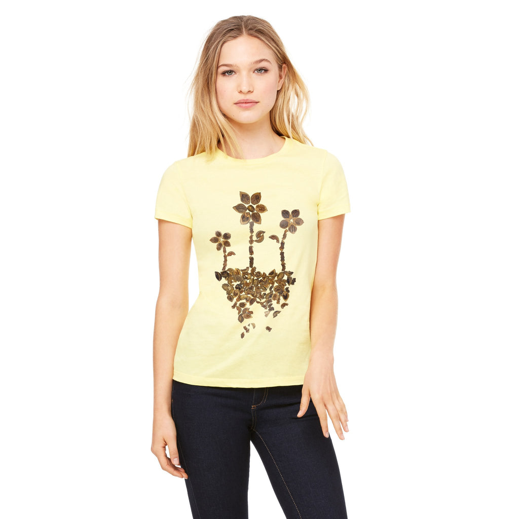 3 Flower Crew-neck tee - Stone Banana