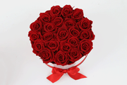TWO RED DOZEN ROSES IN A GIFT HAT BOX