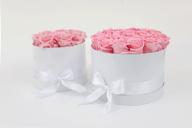 TWO PINK DOZEN ROSES IN A GIFT HAT BOX