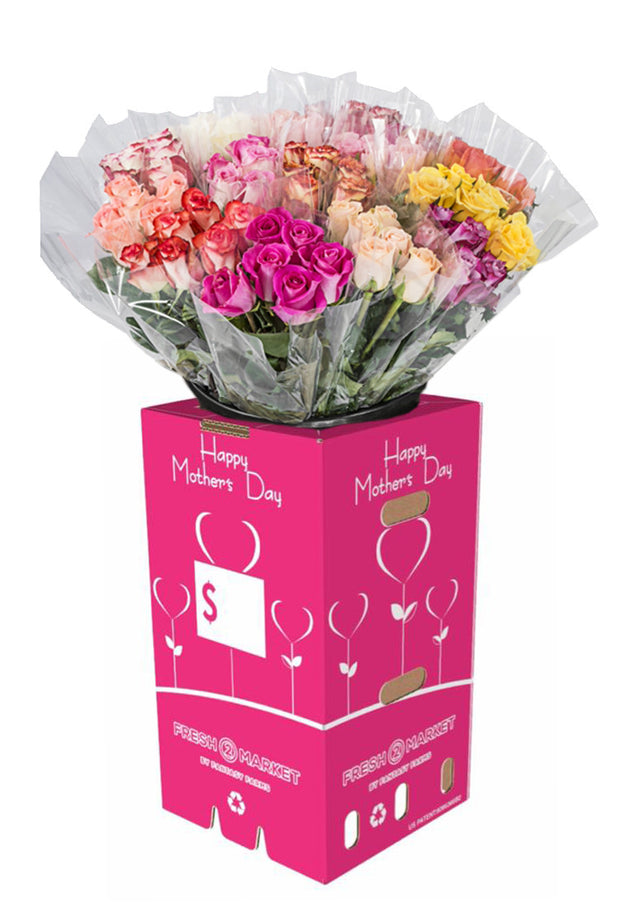 MOTHER'S DAY HALF DOZEN ROSES 50% COLOR 50% RED 40CMS