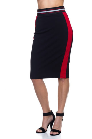 Black and Red Pencil Skirt