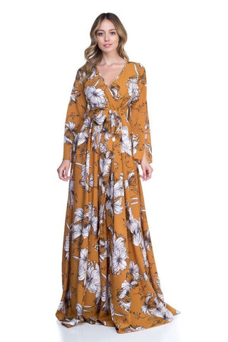 Mustard Floral Maxi With Open Sleeve