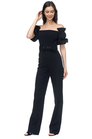 Off the Shoulder Black Belted Jumpsuit