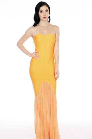 Acid Orange Bandage Sheer Mesh Maxi Dress - Shop for You Boutique