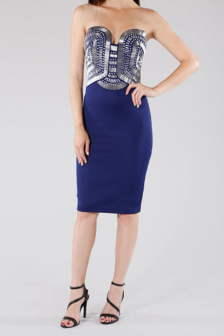 Beaded Navy Sweet Heart Bodycon Dress