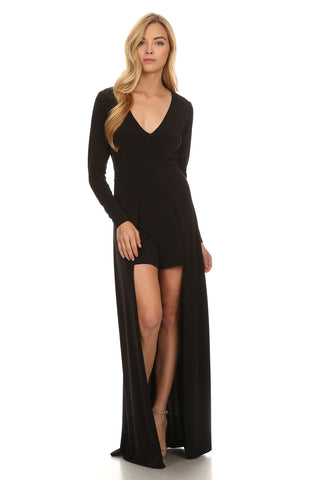 Black Romper With Tuxedo Tail