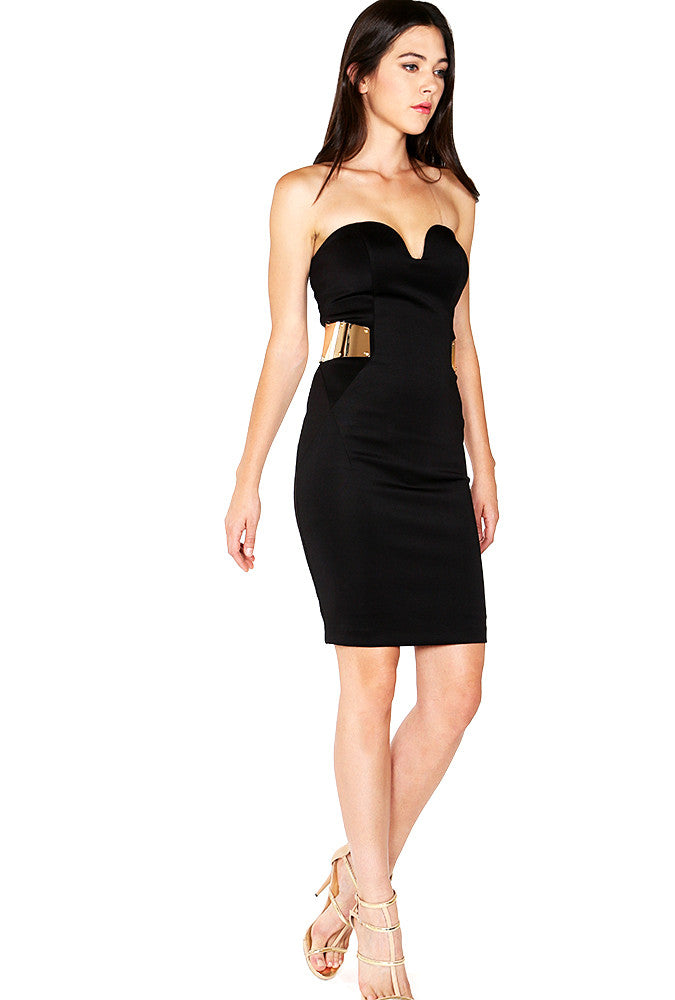 Black Bodycon Dress With Gold Metal Detail Shop For You
