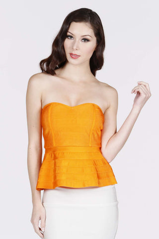 Orange Bandage Peplum Top - Shop for You Boutique