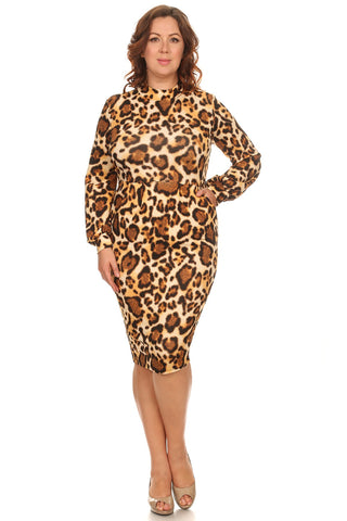 Leopard Midi Plus Dress