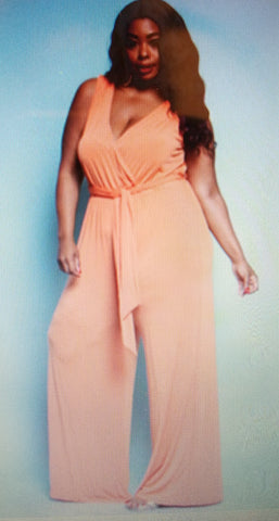 Orange Plus Size Wide Leg Jumpsuit