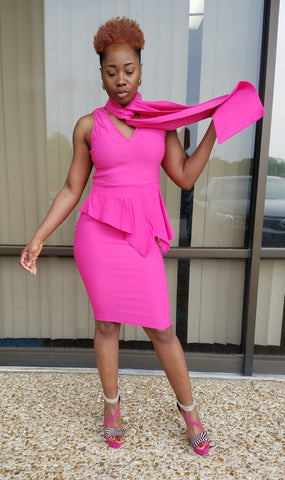 Fuchsia Midi Peplum Dress With Bow Detail