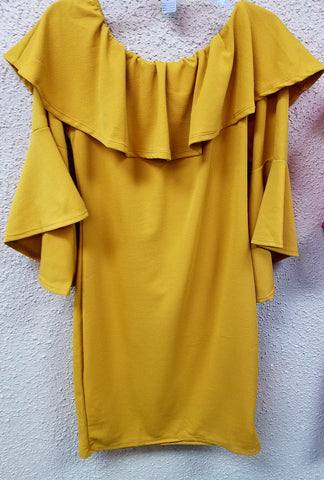 Gold Plus Size Off Shoulder Dress With Bell Sleeve