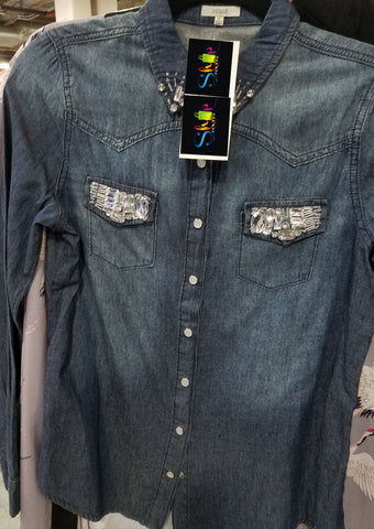 Denim Rhinestone Button Down Top