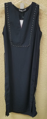 Navy Blue Sheath Dress With Studs