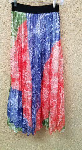Orange/Lime/Blue/White Pleated Maxi With Elastic Waistband