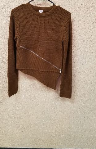Tan Woven Sweater With Zipper