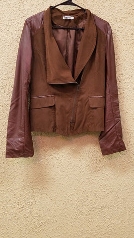 Caramel Brown Faux Leather Motor Jacket