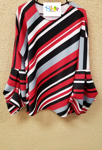 Red/Gray/Black Stripe Bell Sleeve Top