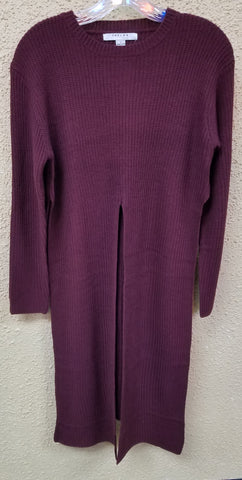 Grape Long Sweater With Open Front