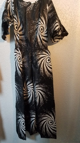 Black and White African Print Jumpsuit