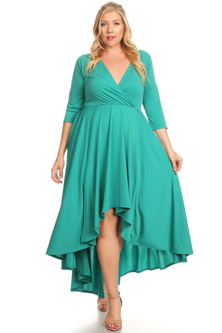 Green Flowy High Low Dress