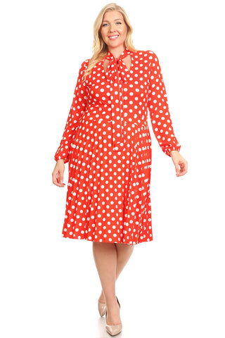 Red and White Polka Dot Fit and Flare Dress - Plus